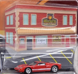 2005 Ford GT Red with Resin Cafe Front Facade`Cars and Coffee Diorama (ミニカー)