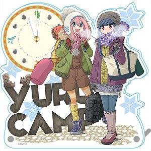 Yurucamp First Snow Camp Acrylic Table Clock (Anime Toy)