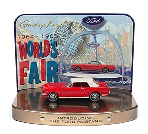 1964 Ford Mustang in Rangoon Red with 1964 World`s Fair Tin Display (Diecast Car)