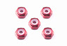 GP493 2mm Aluminium Locknut (Red/5pcs) (Mini 4WD)